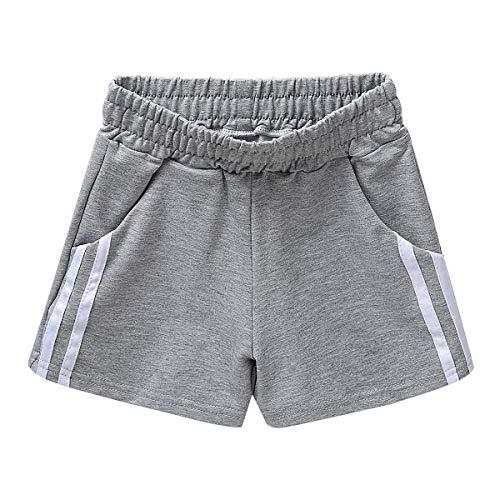 iEFiEL Mädchen Shorts Active Kurze Sport Hosen Mit Gummibund Jogging Fitness Yoga Shorts Sporthose 3-10 Jahre Grau 98-104