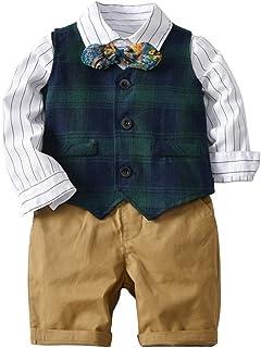 Mornyray 子供服 フォーマル スーツ ワイシャツ 長袖 ハーフパンツ ベスト 蝶ネクタイ 4セット 男の子 キッズ コットン size 80 (ダークグリーン)
