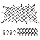 EZYKOO Cargo Nets 47' x 36',6mm Premium Bungee Cord Net,3' x 3' Grid Mesh Cargo Net,Auto Roof Tie-Down Net with 14 Hooks