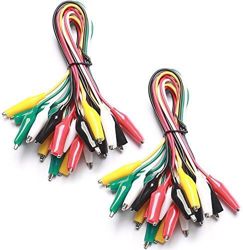 HiLetgoR 20個セット ワニ口クリップ ワニ口クリップコード テストリード 5色1.5インチ 22AWGワニ口クリップ&1.6インチテストセット 50CM Arduino Raspberry PIに対応