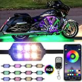 Dlylum 12pcs Motorcycle LED Light Kit with APP&RF Wireless Remote Control Smart Brake Light Function Magic RGB Dream Color Chasing Multi-Color Underglow Neon Light Strip for Motorcycle Golf Carts ATV