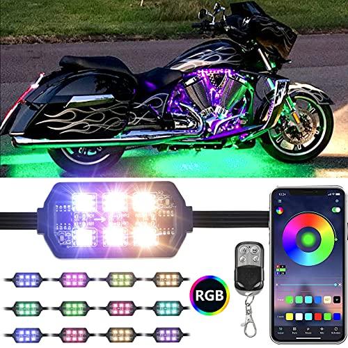 Dlylum 12pcs Motorcycle LED Light Kit with APP&RF Wireless Remote Control DC 12V Smart Brake Light...