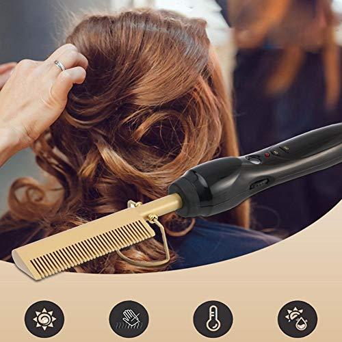 Frauen-elektrischer Heißer Kamm- / Glättungskamm, Haar-Glättungsbürste, Elektrischer Titanlegierungs-Haar-Glätter, Elektrischer Glätter-Kamm, Stab-Haar-Lockenstäbe, Die Kamm-Gold Geraderichten