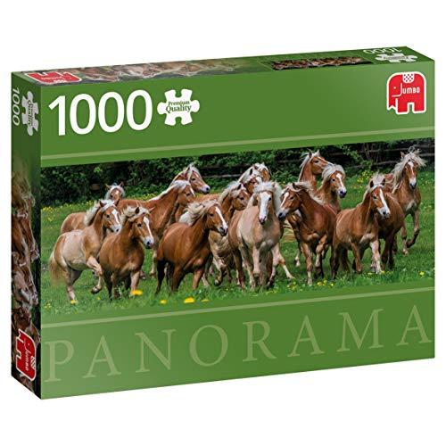 Jumbo 18827 Premium Collection – Haflinger Pferde, 1000 Teile Panorama-Puzzle, Multi