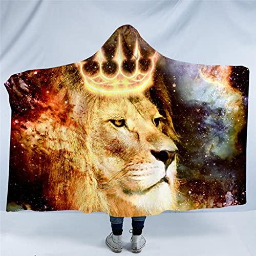 Manta con Capucha del Rey León para Adultos Universo Cosmic Sherpa Manta de Lana Animal con Corona Manta usable 150 * 200Cm