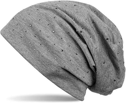styleBREAKER Damen Beanie Mütze mit edler Strass-Nieten Applikation, Longbeanie Slouch 04024037, Farbe:Grau