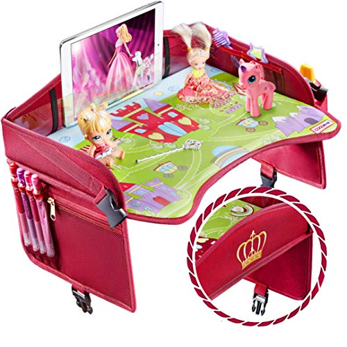 Coolmum Kids Travel Tray, Toddler Car Seat Tray, Activity Organizer, Snack Lap Tray, Baby Stroller Tray, Airplane Play Table, Waterproof and Foldable (Premium Red/Pink)
