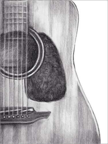 Posterlounge Leinwandbild 70 x 90 cm: Gitarren-Studie von Ethan Harper/World Art Group - fertiges Wandbild, Bild auf Keilrahmen, Fertigbild auf echter Leinwand, Leinwanddruck
