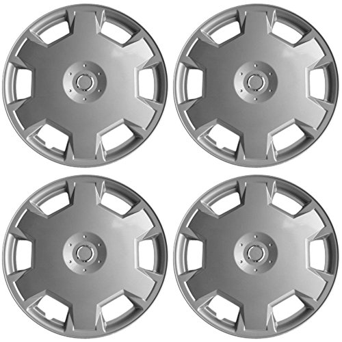 15 inch Hubcaps Best for 2009-2014 Nissan Versa - (Set of 4) Wheel Covers 15in Hub Caps Silver Rim Cover - Car Accessories for 15 inch Wheels - Snap On Hubcap, Auto Tire Replacement Exterior Cap