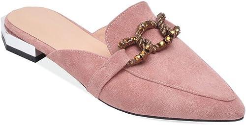 femmeschaussures Sandales pour Femmes, Baotou Sandales Bas Talon carré avec des Chaussures Femelles Pointues,B,39