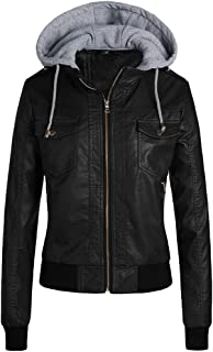QitunC Women's Faux PU Leather Short Jacket Hoooded Casual Zipped Coat Moto Biker Fleece Lined Thick Jacket Outwear