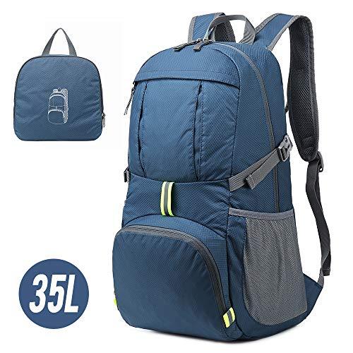 Lixada Rucksack, 35 l, leicht, verstaubar, wasserabweisend, mit reflektierenden Streifen, Blau dunkel (Blau) - FGF0206106104492OA