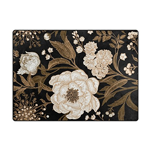 """Price comparison product image My Little Nest Vintage White Peony Flowers Area Rug 4'10"""" x 6'8"""" Lightweight Modern Floral Mat Non-Slip Indoor Outdoor Decor Soft Carpet for Bedroom Living Dining Room"""