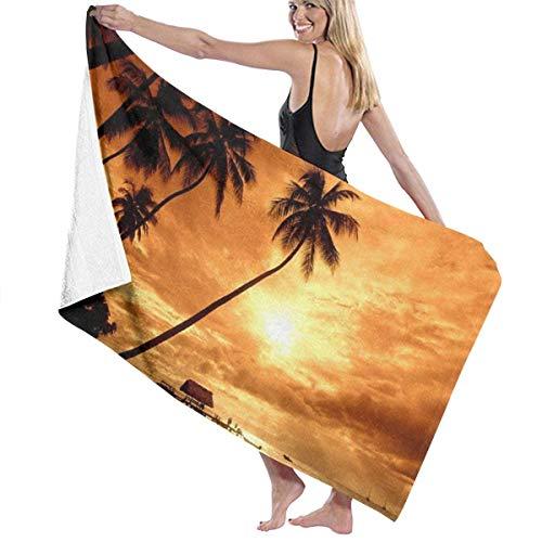 AZBYC Bath Sheet Personalized Towel With Custom Microfiber Sandproof Blanket For Bath Swimming Pool Yoga Pilates Picnic Blanket Beach Sunsets Hawaii Tree