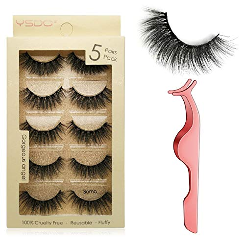 False Eyelashes 5 Pairs Reusable 3D Mink Lashes Handmade Natural Thick Fake Eyelashes Contains Stainless Steel Eyelash Tweezers (Bomb)