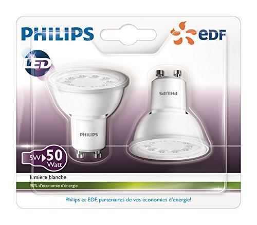 Philips Lot de 2 Ampoules LED Spot Culot GU10, 5W équivalent 50W, Blanc Neutre 3000K, Finition Plastique, Partenariat Philips/EDF