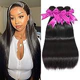10A Straight Human Hair Bundles 100% Virgin Brazilian Hair 3 Bundles Straight Weave Hair Human Bundles Natural Color Unprocessed Remy Hair Bundles (18 20 22)