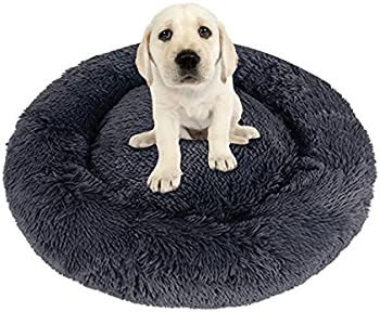 Nibesser Dog Calming Donut Plush Round Bed