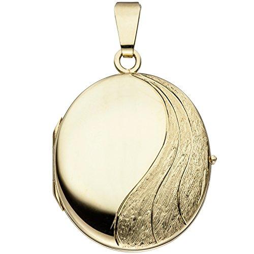 JOBO Damen-Medaillon aus 585 Gold Oval zum Öffnen für 2 Fotos