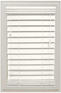 White 2-1/2 in. Premium Faux Wood Blind- 23 in. W x 64 in. L (Actual Size 22.5 in. W x 64 in. L)
