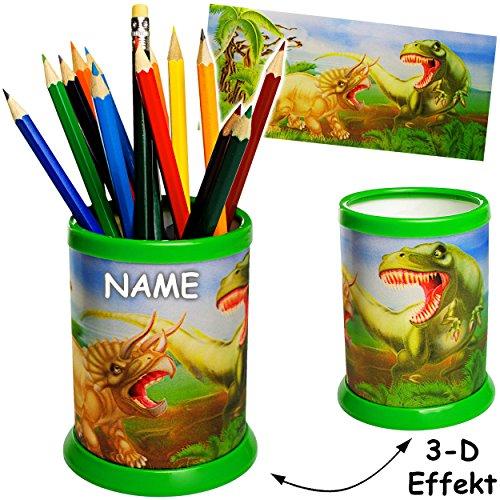 alles-meine.de GmbH 3 Stück _ 3-D Effekt _ Stifteköcher / Stiftebecher -  Dinosaurier - Tyrannosaurus Rex  - inkl. Name - Schreibtischbutler - Schreibtisch Organizer / Butler /..