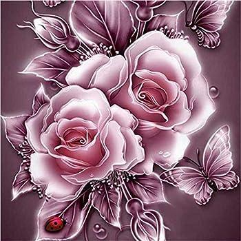 Wowdecor 5D Diamond Painting Kits Retro Pink Rose & Butterfly Full Drill DIY Diamond Art Cross Stitch Paint by Numbers