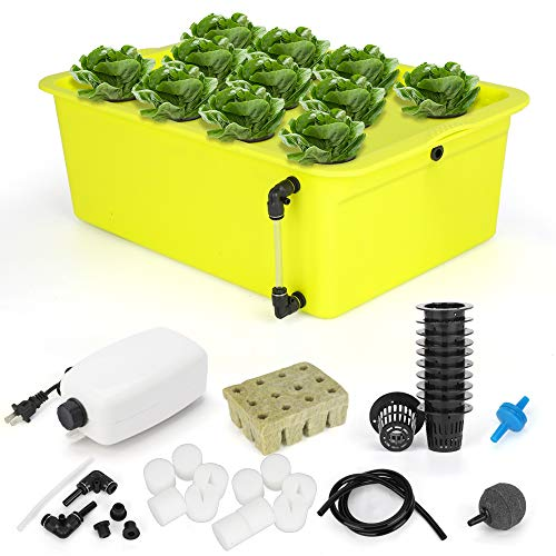 GROWNEER 2 Packs 11 Sites Hydroponics Grower Kit Household DWC Hydroponic System Growing Kits with Air Pump and Hydroponics Tools for Vegetables, Flowers
