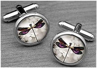 Gemelos de libélula vintage, gemelos de insectos, personalizables con cualquier texto, gemelos personalizados