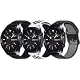 Surace Compatible with Galaxy Watch 3 Band 45mm, Soft Silicone Sport Band with Quick-Release Pin Replacement for Galaxy Watch 46mm bands, 3 Packs (Black/Black, Black/Gray, White/Black)