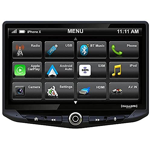 """Stinger HEIGH10 10"""" Multimedia Car Stereo 1024 x 600 HD Display. Apple Car Play, Android Auto, SiriusXM Ready, Bluetooth, TOSLINK Audio Output & HDMI Rear Input, Single/Double DIN Mounting"""