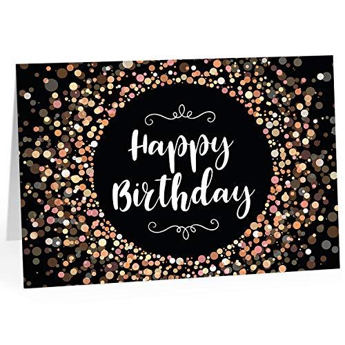 Große Glückwunschkarte zum Geburtstag XXL (A4), Motiv Happy Birthday - Edler Look/mit Umschlag/Edle Design Klappkarte/Glückwunsch/Happy Birthday Geburtstagskarte/Extra Groß/Edle Maxi Gruß-Karte