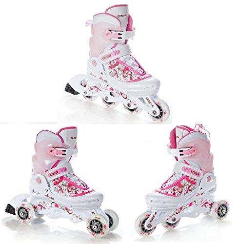 RAVEN 3in1 Inline Skates Inliner Triskates Rollschuhe Laguna White/Pink verstellbar Größe: 34-37 (22cm-24,5cm)