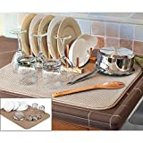 SCS Direct Beige Dish Drying Mat - Extra Large Dish Drying Mat - 18' x 24'