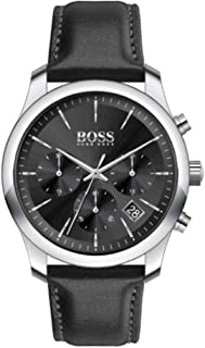Hugo Boss Black Men'S Black Dial Black Leather Watch - 1513732