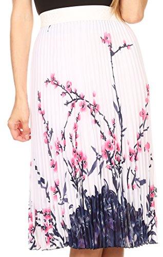 Sakkas 17253 - Caasi Midi Pleated Light Crepe Skirt with Print and Elastic Waist - White/Blue - OS