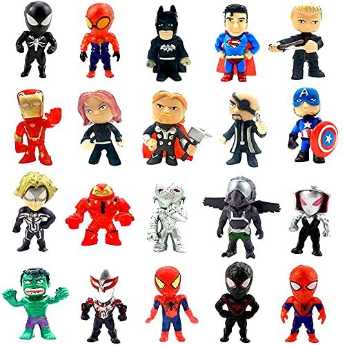 Avengers Cake Topper, 20 Pezzi Mini Figurine Decorazione per Torta Supereroe,Cake Topper Figurine Compleanno per Feste Torta Decorazioni per Bambini,Mini Ornamento per Scena del Giardino Decor