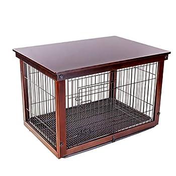 Chenils Cages Cage for Chien Grande Clôture for Chien Clôture Extérieure Cage en Fer for Bois Massif avec Plateau Support De Plancher Cages (Color : Brown, Size : 64 * 52 * 58cm)