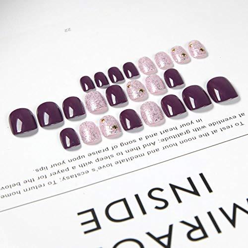 Beau raisin violet frappé couleur unie 3d faux ongles japonais mariée dames conseils d'ongle complet 24pcs taille courte mignon faux ongles