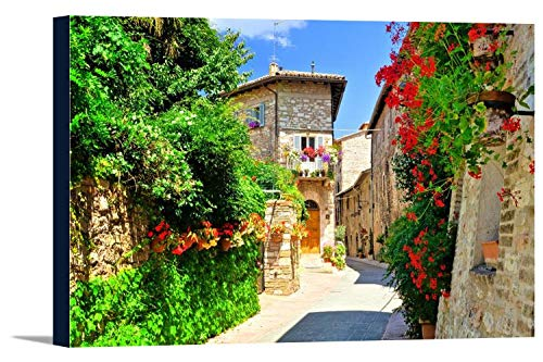 Flower Filled Medieval Street in the Beautiful Old Town of Assisi, Italy 9017787 (24x16 Gallery Wrapped Stretched Canvas)
