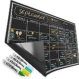 Magnetic Calendar for Refrigerator - Dry Erase Black Board for Kitchen Fridge - Bright Neon Chalk Markers - 17X12' Monthly Blackboard Organizer - Perfect Chalkboard Magnet