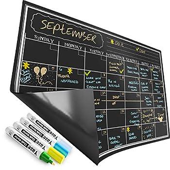Magnetic Calendar for Refrigerator - Dry Erase Black Board for Kitchen Fridge - Bright Neon Chalk Markers - 17X12  Monthly Blackboard Organizer - Perfect Chalkboard Magnet