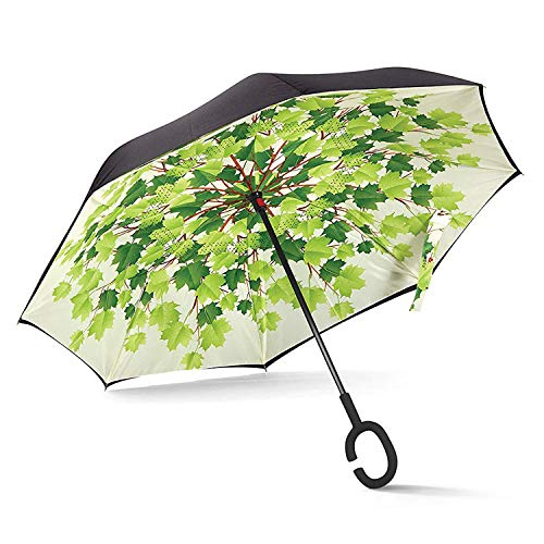 ABCCANOPY Inverted Umbrella,Double Layer Reverse Windproof Teflon Repellent Umbrella for Car and Outdoor Use, UPF 50+ Big Stick Umbrella with C-Shaped Handle and Carrying Bag