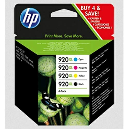 HP Original C2N92AE / 920XL, für OfficeJet 6500 4X Premium Drucker-Patrone, Schwarz, Cyan, Magenta, Gelb, 1x 1200, 3X 700 Seiten, 1 x 32 & 3 x 8 ml