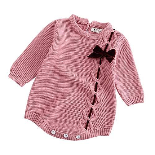 HCFKJ Ropa Bebe NiñA Invierno NiñO Manga Larga Camisetas BEB Conjuntos Moda Bebé ReciéN Nacido NiñA Arco De Punto Mameluco De Ropa De Ganchillo Mono T (0-3 Meses, Rosa)