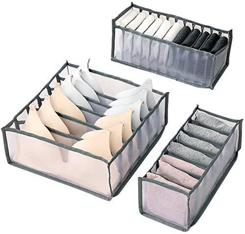 Queta Juego de 3 cajas de almacenamiento para ropa interior Cajas de almacenamiento de tela plegables Organizador de cajones de ropa Interior para sujetadores calcetines corbatas y bufandas (gris)