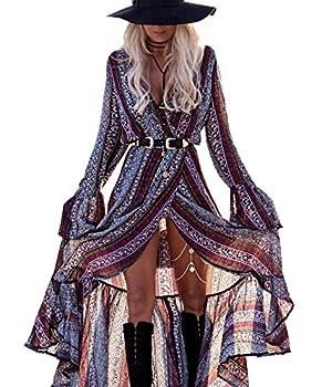 R.Vivimos Womens Summer Long Sleeve Cardigan Sexy Maxi Dresses  XL Magenta/NavyBlue