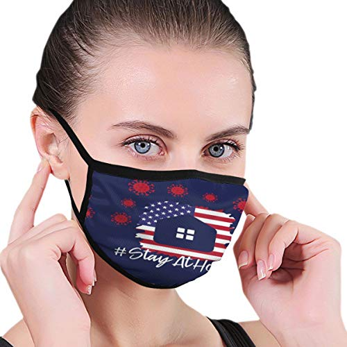 Design with Illustration Little House Word Stay Home Covid Coronavirus Face Protection Reusable Bandana 2 Layers Fabric Head Scarf Washable Neck Gaiter Earloop Black