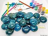 Eusice - Cristal de Apatita azul calidad extra AAA+, piedra bienestar, litoterapia, 100% natural (80g-100g, Azul marino)