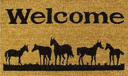"Home & More 120291729 Horses Welcome Doormat, 17"" x 29"" x 0.60"", Natural/Black"