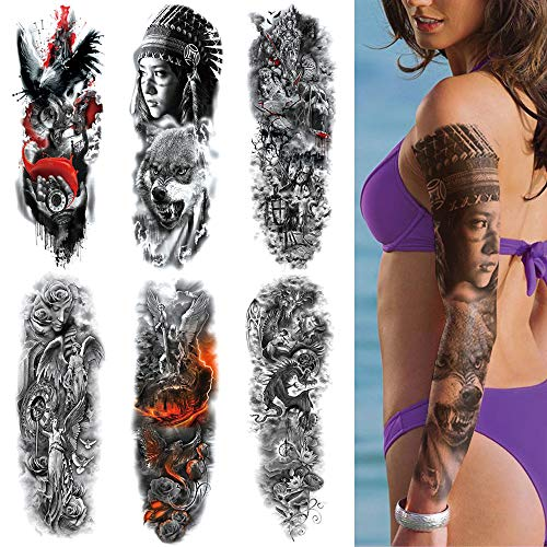 Temporary Tattoos for Women Men Adults Kids boys girls Extra Large Full Arm Hand Waterproof Tattoo Stickers 6 Sheets with Crow Time Angel Indian Wolf Rose Flower Dragon